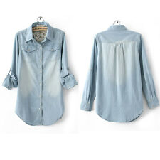 New Women's Lady Fashion Casual Retro Long Sleeve Jean Denim Shirt Tops Blouse