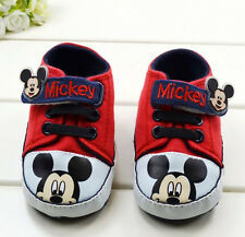 Baby  Girls  Mickey Mouse Crib Shoes Walking Sneakers Size 0-15 Months