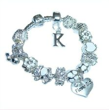 Personalise Bracelet Girls Childrens Luxury Initial Charm Ice White Silver Boxed