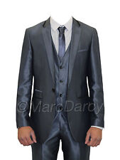 MENS DESIGNER SHINY BLUE THREE PIECE SUIT IDEAL FOR WEDDINGS & ALL OCCASIONS