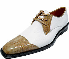 New men's shoes dress formal fashion 2 tone leather like lace up taupe white