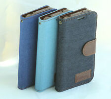 FOR SAMSUNG GALAXY S4 S IV I9500 NEW JEANS DENIM CLOTH LEATHER CASE COVER WALLET
