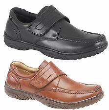 Mens New Casual Velcro Shoes in Tan or Black Size 6 7 8 9 10 11 12 FREE SHIPPING