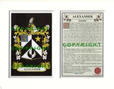 ALEXANDER Family Coat of Arms Crest + History - Available Mounted or Framed