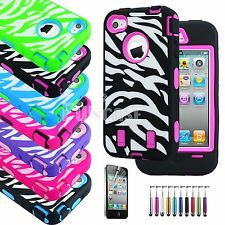 Zebra Rubber Matte Rugged Hard Case Cover For iPhone 4 4S w/ Screen Protect +Pen