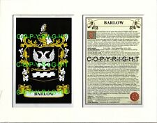 BARLOW Family Coat of Arms Crest + History - Available Mounted or Framed