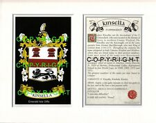 KINSELLA Family Coat of Arms Crest + History - Available Mounted or Framed