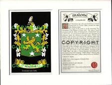 MALONE Family Coat of Arms Crest + History - Available Mounted or Framed