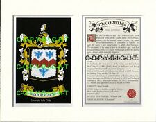 MCCORMACK Family Coat of Arms Crest + History - Available Mounted or Framed