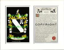 PLUNKETT Family Coat of Arms Crest + History - Available Mounted or Framed