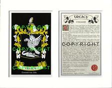 TREACY Family Coat of Arms Crest + History - Available Mounted or Framed