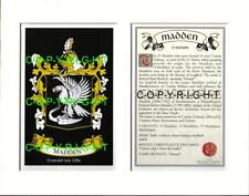 MADDEN Family Coat of Arms Crest + History - Available Mounted or Framed