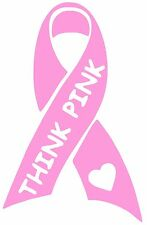 """Breast Cancer Awareness """"THINK PINK"""" Ribbon T60 vinyl window decal free shipping"""