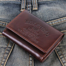 New Mens Wallet KOREA -261 Vintage Genuine Leather Mini Trifold Purse So Hot