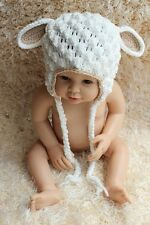 New Cute Handmade Cotton Lamb Sheep Baby Child Knit Hat Cap Newborn Photo Prop