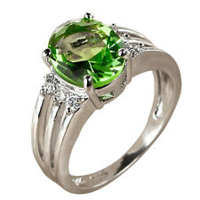 Green Amethyst & White Topaz Gemstones Silver Ring Size 6 7 8 9 Free Shipping