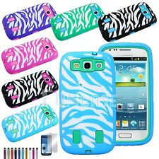 For SAMSUNG GALAXY S3 S III i9500 Film Zebra Rugged Rubber Combo Hard Case Cover