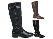 WOMENS QUILTED RIDING BIKER KNEE HIGH BOOTS FLAT BUCKLE LADIES SHOES SIZE UK 3-8