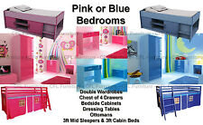 High Gloss Girls Pink Or Boys Blue Two Tone Modern Bedroom Furniture Units