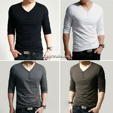 Men's Long Sleeve V-Neck T-Shirt Slim Fit Tops Basic Tee Shirt Cotton New ESY1