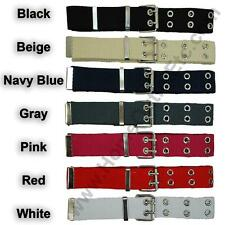 Double Grommet Fabric Belt 2-Hole Row Canvas Web Studded Punk Rock Biker Womens