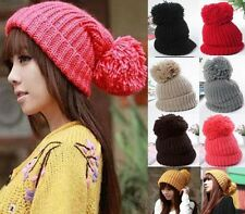 Womens Girl Unisex Winter Slouch Cuffed Beanie Bobble Hat Warm Knitted Oversized