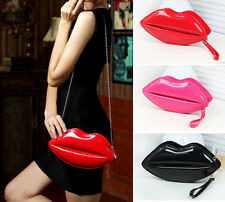 Hot Women's Lips Purse Handbag Evening Party Small Patent Leather Shoulder Bag