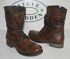 Steve Madden Troopa lace up bootie brown leather boots NEW