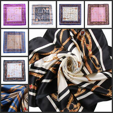 "Classic New Lady's Satin Silk Square BIG Scarf Shawl 35""X35"" Royal Chian symbols"