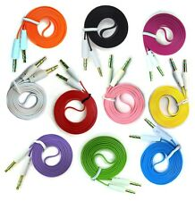 Lot 5-100pcs 3ft/1m 3.5mm Male to Male Stereo Audio AUX Flat Noodle Cable Cord