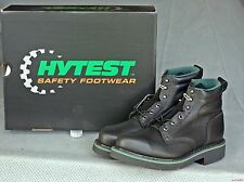 "Hytest Men's Women's Steel Toe 6"" Black Leather Footrests Work Boot #08972 NIB"
