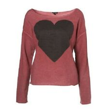 TOPSHOP Ladies Burgundy Heart Jumper Top Sizes - 6 8 10 RRP- £26.00