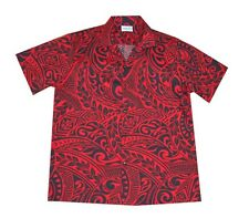 Cotton Blended Red Black Tattoo Polynesian Hawaiian Aloha Men Shirt-M,L,XL,2X,3X