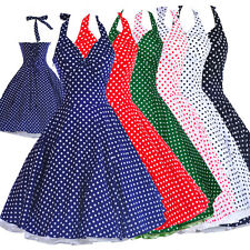 Vintage Dancing Swing Jive Rockabilly Spot Dot Polka Cotton Dress 50s 60s Party