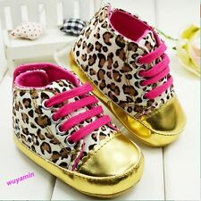 New Baby Sneakes Infant Toddler baby girls boys Leopard Gold Crib soft Shoes