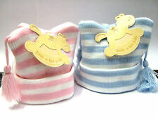 CUTE STRIPE KNITTED HAT WITH TASSLES  BY ROCK-A- BYE BABY ONE SIZE 0-12M