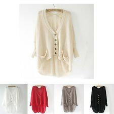 Women Lady Casual V-Neck Batwing Button Down Knitted Cardigan Hollow Sweater