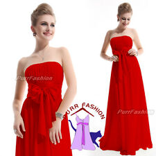 Sexy Red Strapless Chiffon Maxi Prom Evening Long Bridesmaid Dress UK 6-18