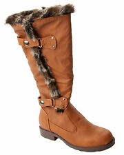 WOMENS TAN FAUX FUR TRIM SLOUCH KNEE LENGTH WINTER BOOTS LADIES UK SIZE 3-8