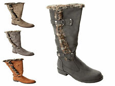 WOMENS FAUX FUR TRIM SLOUCH KNEE LENGTH WINTER BOOTS LADIES UK SIZE 3-8