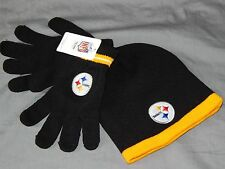 Pittsburgh Steelers Beanie & Gloves Combo Youth Size 8-20 NFL New Logo Black