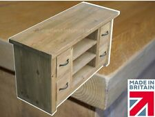 Rustic Solid Pine TV Stand, Handcrafted & Waxed Entertainment Unit with Drawers
