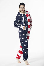 One Piece Ladies American Flag Jumpsuit Hoody Fleece Playsuit In Women's Cothing