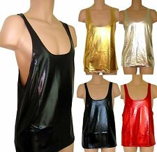 ULTRA SHINY GLOSSY WET LOOK HORROR  VEST TOP  S - 4XL PLEASE READ MEASUREMENTS