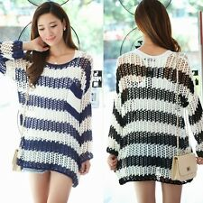 Korean Vogue Striped Pullover Womens Crochet Hollow Out Loose Sweater Jumpers