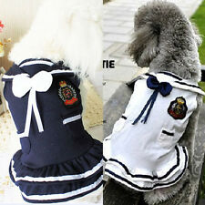 Pet Clothes Cute Navy Blue Dog Sailor Dress with Pockets Dog Clothing