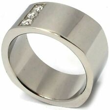 Mens 12mm 316L Stainless Steel 3 CZ Stone Ring Polished