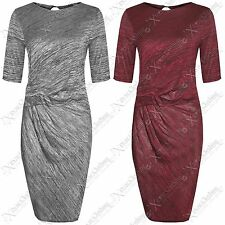 NEW LADIES KNIT RUCHE DRAPE LOOK BODYCON DRESS WOMEN MIDI DRESSES LONG TOP SKIRT