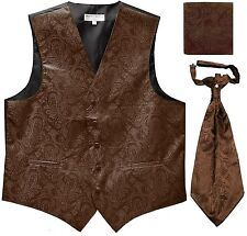 New Men's Paisley Tuxedo Vest Waistcoat & Ascot Cravat & Hankie Wedding Brown