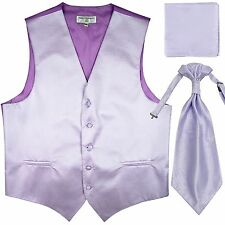 New Men's Horizontal Stripes Tuxedo Vest Waistcoat & Ascot & Hankie Set Lavender